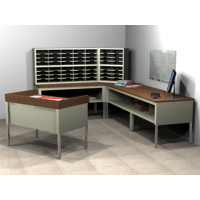 "Mail Room Furniture Compact ""L"" Shaped Mail Center with 56 Pockets, Includes Sorters and Tables, Legal Depth"