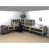 "Complete ""L"" shaped Mail Center with 72 Pockets and 36""D Tables"