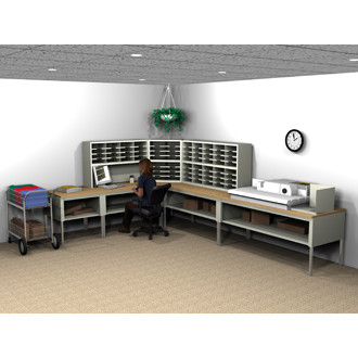"Charnstrom's Complete ""L"" shaped Mail Center with 72 Pockets and 30""D Tables"