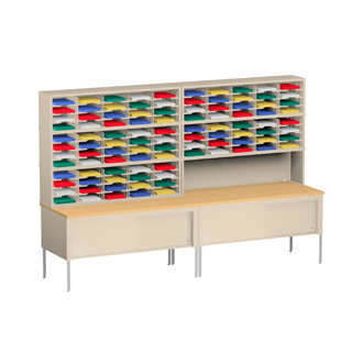 "Mail Room Furniture and Office Organizing 120""W X 15-3/4""D, 100 Pocket Sorter with 11-1/2""W with 36""D Tables"