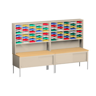 "Charnstrom Mail Center Furniture and Office Organizer 120""W X 15-3/4""D, 80 Pocket Sorter with 11-1/2""W Shelves with 36""D Tables"