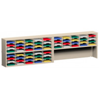 "Charnstrom Mail Room Furniture and Office Organizers 120""W x 15-3/4""D, 60 Pocket Mail Sorter with 11-1/2""W Shelves"