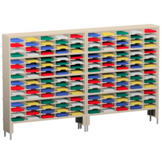 """Charnstrom Mail Room Furniture and Office Organizer 120""""W x 12-3/4""""D, 160 Pocket Mail Sorter with Lower Leg Risers"""