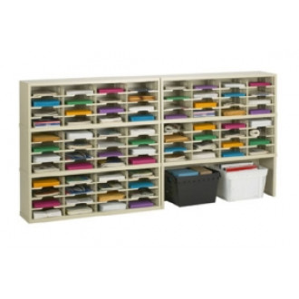 "Charnstrom's Mail Room Furniture and Office Organizers - 96""W x 15-3/4""D, 80 Pocket Sorter with 11-1/2""W Shelves with Enclosed Riser"