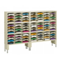 "Mail Room Furniture and Office Organizer - 84""W x 15-3/4""D, 84 Pocket Sorter with Riser/11-1/2""W Shelves"