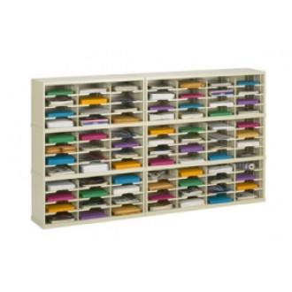 "Charnstrom Mail Center Furniture and Office Organizers - 84""W x 15-3/4""D, 84 Pocket Sorter with 11-1/2""W Shelving"