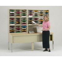"Mail Room Furniture and Office Organizer - 84""W x 15-3/4""D, 68 Pocket Sorter with 11-1/2""W Shelves"