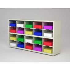 """Mail Room Furniture and Office Organizer - 60""""W x 15-3/4""""D Sorter with 20 Pockets, 11-1/2""""W Shelves"""
