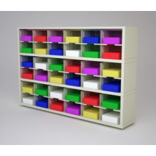 """Mail Room Furniture and Office Organizer - 72""""W x 15-3/4""""D Sorter with 36 Pockets, 11-1/2""""W Shelves"""