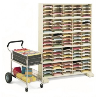 """Mail Room Furniture or Office Organizer - 60""""W x 12-3/4""""D, 100 Pocket Sorter with Caster Base"""