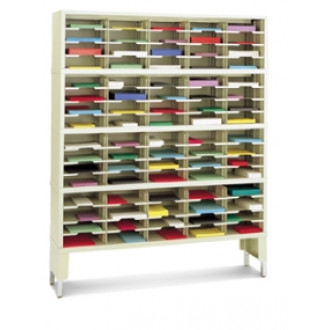 "Mail Room Furniture and Office Organizer - 60""W x 12-3/4""D, 80 Pocket Sorter with Leg Riser - 11-1/2""W Shelves"