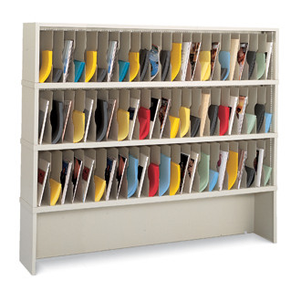 "Mail Room Furniture and Office organizer - 72""W x 12-3/4""D, 69 Pocket Vertical Sorter and Riser"