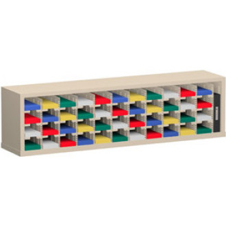 """Mail Room Funiture and Office organizer - 60""""W x 12-3/4""""D, 44 Pocket Sorter with 5""""W Shelves"""