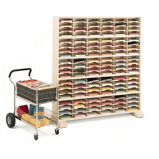 "Mail Room Furniture or Office Organizer - 60""W x 15-3/4""D, 120 Pocket Sorter with 9-1/2""W Shelves and Caster Base"