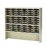 "Mail Room Furniture or Office Organizer - 60""W x 12-3/4""D, 72 Pocket Sorter with 9-1/2""W Shelves and Lower Riser"