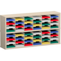 "Mail Room Furniture and Office Organizer - 60""W x 12-3/4""D, 48 Pocket Sorter with 9-1/2""W Shelves"