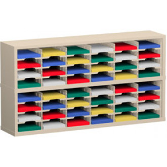 """Mail Room Furniture and Office Organizer - 60""""W x 12-3/4""""D, 48 Pocket Sorter with 9-1/2""""W Shelves"""