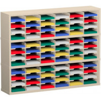 "Mail Room Furniture and Office Organizer - 60""W x 12-3/4""D, 72 Pocket Sorter with 9-1/2""W Shelves"