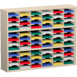 "Mail Room Sorter and Office Organizer 60""W x 15-3/4""D, 72 Pocket Sorter with 9-1/2""W Mail Sorting Shelves"