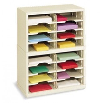 "Mail Room Sorter and Office Organizer - 25""W x 12-3/4""D, 16 Pocket Sorter with 11-1/2""W Shelves"
