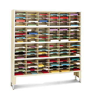 "Mail Center Furniture and Office Organizer - 60""W x 15-3/4""D, 96 Pocket Sorter with 9-1/2""W Shelves"