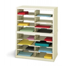 "Mail Sorting System Includes a 25""W Open Back Double Sorter, 16 Pockets, Letter Depth"