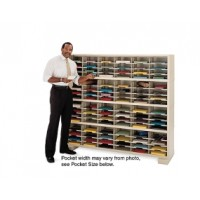 "Mail Room Console 72""W x 12-3/4""D, 112 Pocket Sorter with 9-1/2""W Shelves"