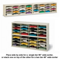 "Mail Room Console and Office Organizer 96""W or 48""W x 12-3/4""D, 32 Pocket Sorter with 11-1/2""W Shelves"