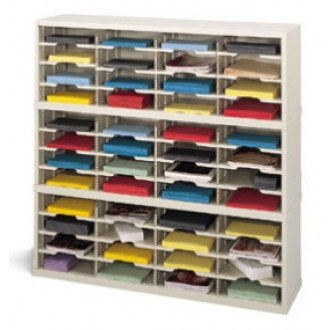 "Mail Room Console 48""W x 12-3/4""D, 48 Pocket Sorter with 11-1/2""W Shelves"