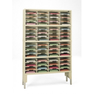 "Mail Room Console or Office Organizer 48""W X 12-3/4""D, 64 Pocket Sorter with Riser and 11-1/2""W Shelves"