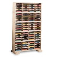 "Mail Room Console and Office Organizer 48""W X 12-3/4""D, 80 Pocket Sorter with Lower Caster Base"