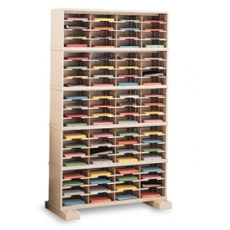 """Mail Room Console and Office Organizer 48""""W X 12-3/4""""D, 80 Pocket Sorter with Lower Caster Base"""