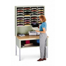 """Office Organizer and Mail Room Sorter 48""""W x 12-3/4""""D, 32 Pocket Sorter with Riser and 11- 1/2""""W Shelves (Table Sold Separately)"""