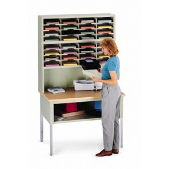 "Office Organizer and Mail Room Sorter 48""W x 12-3/4""D, 32 Pocket Sorter with Riser and 11- 1/2""W Shelves (Table Sold Separately)"