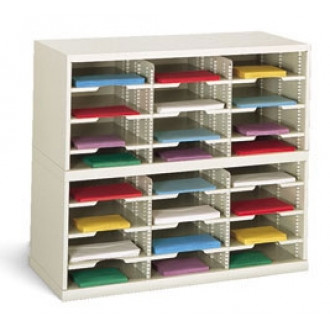 "Office Organizer or Mail Room Furniture 36""W x 12-3/4""D, 24 Pocket Sorter with 11-1/2""W Shelves"