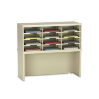 "Office Organizer or Mail Room Sorter 36""W x 12-3/4""D, 12 Pocket Sorter with Riser and 11-1/2""W Shelves"
