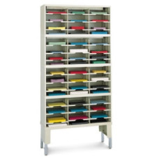 "Office Organizer or Mail Room Sorter 36""W x 12-3/4""D, 48 Pocket Sorter with Leg Riser and 11-1/2""W Shelves"