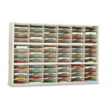 """Mailroom Console and Office Organizer 72""""W x 15-3/4""""D, 72 Pocket Sorter with 11-1/2""""W Shelves"""