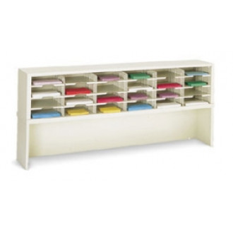 "Mailroom Furniture and Office Organizer 72""W x 15-3/4""D, 24 Pocket Sorter with Riser and 11-1/2""W Shelves"
