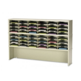 "Mail Room Console or Office Organizer 72""W x 12-3/4""D, 48 Pocket Sorter with Riser and 11-1/2""W Shelves"