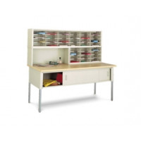"Mail Room Furniture and Office Organizer 72""W x 12-3/4""D, 36 Pocket Sorter with Riser and 11-1/2""W Shelves with 72"" Table"