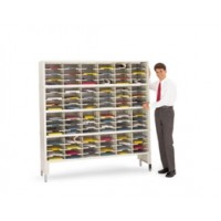 "Mail Center or Office Organizer 72""W x 12-3/4""D, 96 Pocket Sorter with Leg Riser and 11- 1/2""W Shelves"