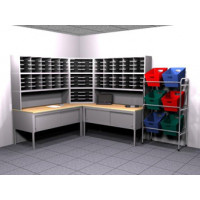 "Compact ""L"" Shaped Mail Room Furniture or Office Organizer with 104 Legal Depth Adjustable Height Pockets with 36"" Deep Tables."