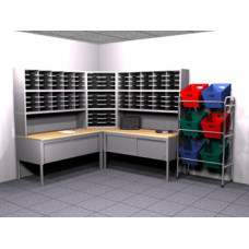 "Compact ""L"" Shaped Mailroom Furniture Station with 104 Letter Depth Adjustable Height Pockets with 30"" Deep Tables."