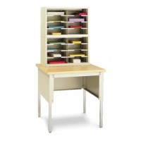 "Mail Room Console or Office Organizer 25""W, 16 Pocket Letter Depth Sorter with 30""W Open Table (Complete!)"