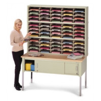 "Mail Room Furniture and Office Organizer - 60""W, Triple Sorter with Lower Table, 60 Pockets, Letter Depth"