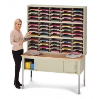 "Mail Room Console or Office Organizer 60""W, Triple Sorter with Lower Table, 60 Pockets, Legal Depth"