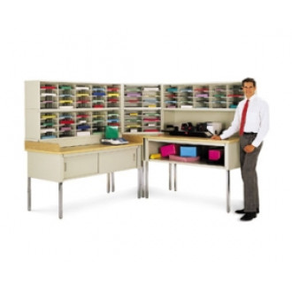 "Modular L-Shaped Mail Center Station and Office Organizer with 76 letter depth pockets and 30""D tables, complete!"