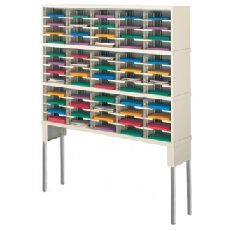 """Mail Room Furniture and Office organizer 60""""W x 12-3/4""""D, 60 Pocket Sorter with Tall Riser"""