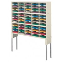 "Mail Room Furniture and Office Organizing Console 60""W x 15-3/4""D, 60 Pocket Sorter with Tall Riser"